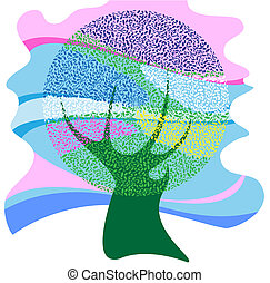 The symbolic image of a tree bright