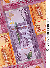 The symmetrical composition of Sri Lankan banknotes. Rupee, ...
