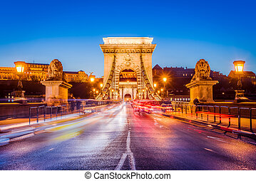 The Szechenyi Chain Bridge in Budapest, Hungary.
