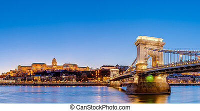 The Szechenyi Chain Bridge in Budapest, Hungary.