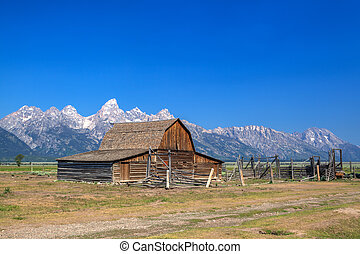 the, t., a。, moulton, 谷仓, 是, a, 具有历史意义, 谷仓, 在中, 怀俄明, 美国