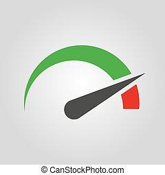 The tachometer, speedometer and indicator icon. Performance...