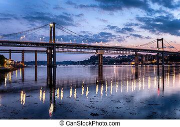 The Tamar suspension bridge spanning the river Tamar between Devon and Conrwall