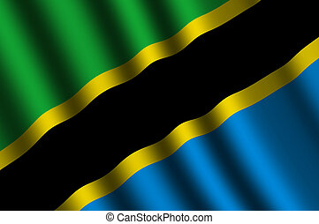 The Tanzania flag flying in the wind.