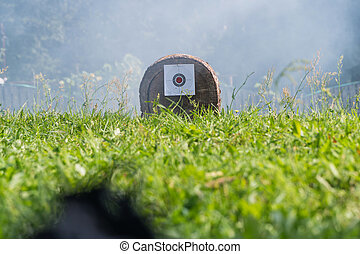 The target is attached to a log. In the background smoke
