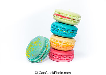Tasty and Assorted Colorful French Macarons