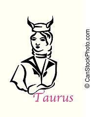 the taurus woman - the illustration with the sign of zodiac...