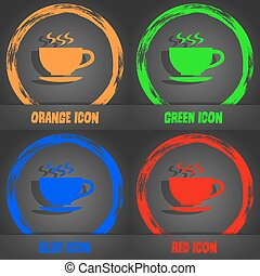 The tea and cup icon. Fashionable modern style. In the orange, green, blue, red design. Vector