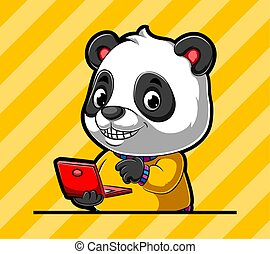 The teacher panda holding the new red laptop with the happy smile in his face