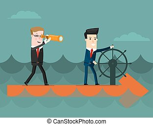 The team.  Business concept cartoon vector illustration.
