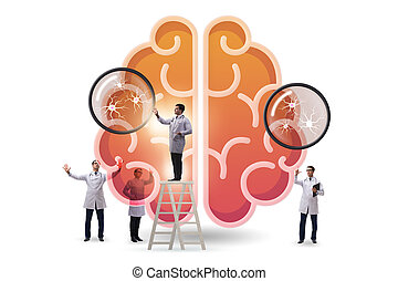 The team of doctors examining human brain