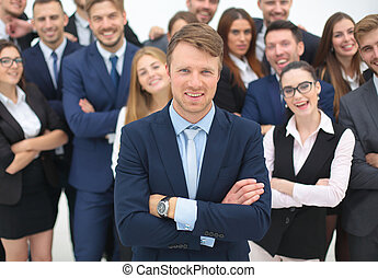 The team of the successful people with their boss - Global...
