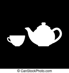 The teapot and cup icon. Tea symbol. Flat