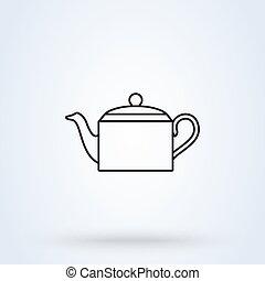 The teapot. Line art Tea symbol Simple vector modern icon design illustration.