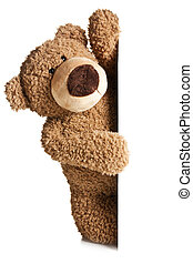 the teddy bear behind a white board