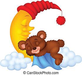 The teddy bear sleep on the moon