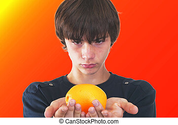 teenager with an orange