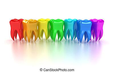 The teeth - Illustration of a row multicoloured teeth on a...