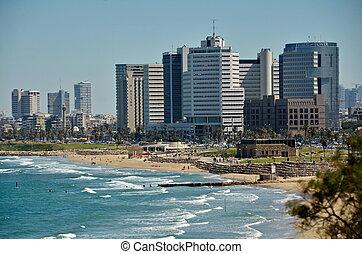 The Tel Aviv, Israel sky line and the Mediterranean beach from Jaffa