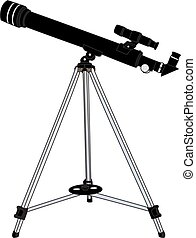 The telescope isolated on white background.