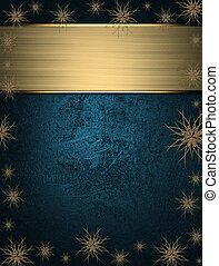 Beautiful Christmas blue background with stars on the edges and name plate for writing.
