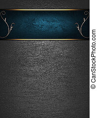 Beautiful metal Background with blue nameplate for writing -...