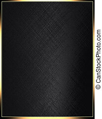 Black texture in golden frame - The template for the ...