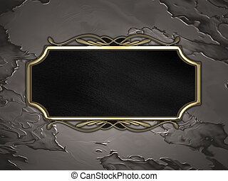 Metal Background with black sign with gold trim - The...