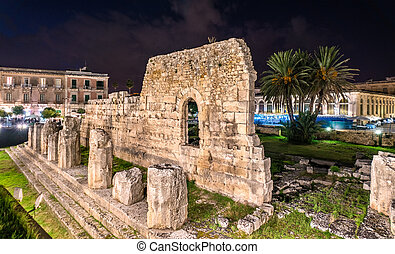The Temple of Apollo, an ancient Greek monument in Syracuse, Sicily, Italy