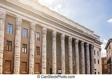 the Temple of Hadrian in Piazza di Pietra in Rome