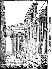 The Temple of Neptune or Temple of Hera II at Paestum, vintage e