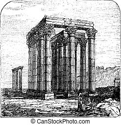 The Temple of Olympian Zeus or  Columns of the Olympian Zeus, Greece, Athens. Vintage engraving.
