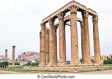 The Temple of Zeus, Athens, Greece. The Parthenon is visible in the background