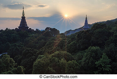 The temple on top of the mountain, Thailand