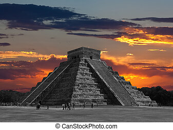The temples of chichen itza temple in Mexico, one of the new...