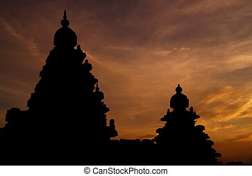 silhouette of The Shore Temple, Mahabalipuram, India which is a world heritage site