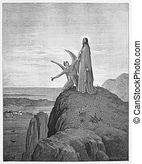 The Temptation of Jesus - Picture from The Holy Scriptures, Old and New Testaments books collection published in 1885, Stuttgart-Germany.