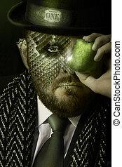 The temptation of money - Portrait of reptilian man in...