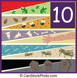An illustration of the ten plagues of Egypt. Eps10