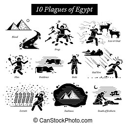 The Ten Plagues of Egypt icons and pictogram. - Moses God ...