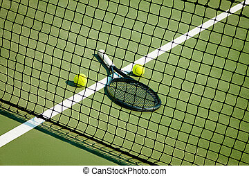 The tennis ball on a tennis court