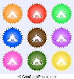 The tent icon sign. Big set of colorful, diverse, high-quality buttons. Vector