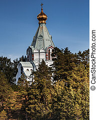 The tent of the church of St. Nicholas monastery on Valaam. Toned processing