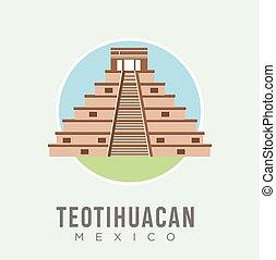 The teotihuacan pyramids in Mexico design vector stock illustration, North America. Ancient stepped pyramids with temples on top. Mesoamerican architectural landmark. Mexico Travel and Attraction