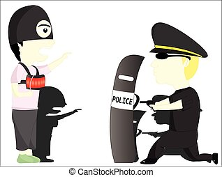 the terrorist and police