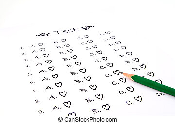 The test list and pencil on the examination