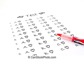 The test list and red pen on the examination