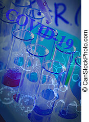 The test tubes and flasks with colored liquid in a laboratory