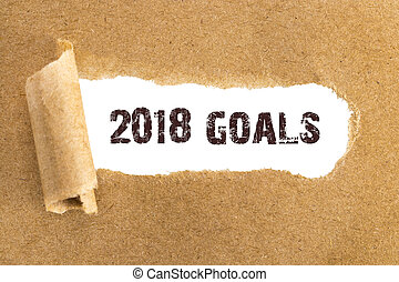 The text 2018 goals appearing behind torn brown paper