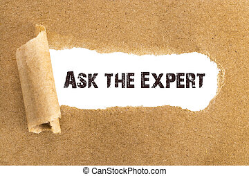 The text Ask the Expert appearing behind torn brown paper